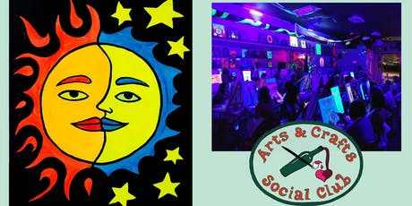 "BLACKLIGHT Painting Class - ""Sun/Moon"" tickets"