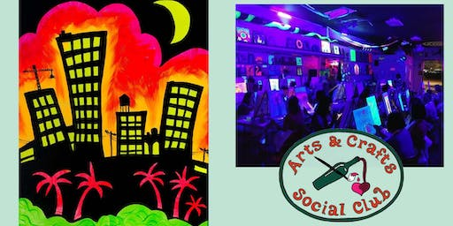 """BLACKLIGHT Painting Class - """"Tropical City"""""""