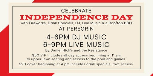 Rooftop BBQ, DJ, Live Music & Fireworks at Peregrin