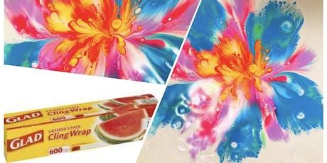 Cling Wrap Paint Pour Flower Workshop - Blackburn South tickets