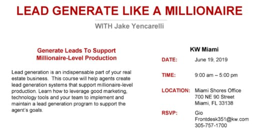 Agent Success Series: Lead Generate Like A Millionaire