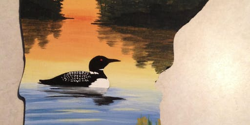 Loon Lake Scene on a MN wood cutout