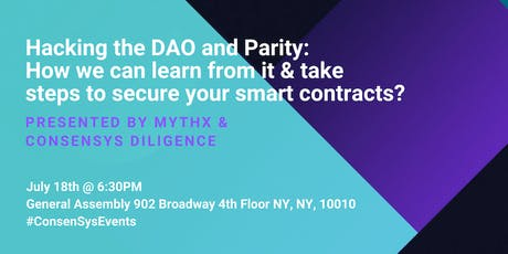 Hacking the DAO and Parity: How we can learn from it and take steps to secure your smart contracts? tickets