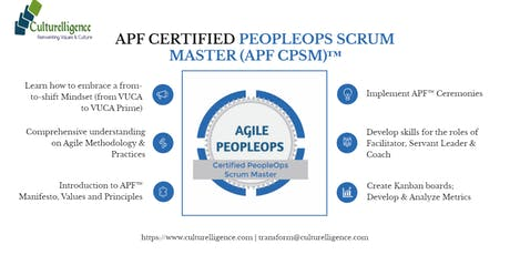 Agile PeopleOps Framework Certified PeopleOps Scrum Master (APF CPSM)™| Philadelphia, PA | July 12-13, 2019 tickets