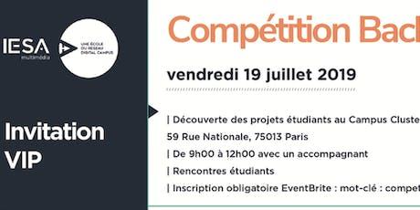 Invitation présentation compétition bachelor 3ème année IESA multimédia billets
