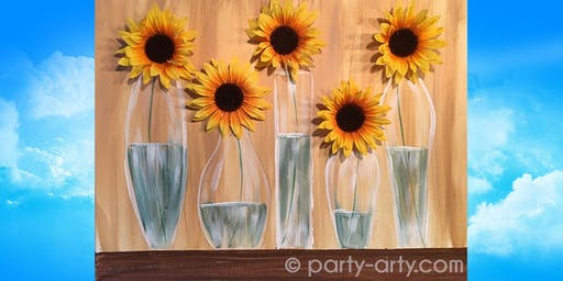 Silk Sunflowers in Vases Canvas - Paint  and Sip Party Art Class