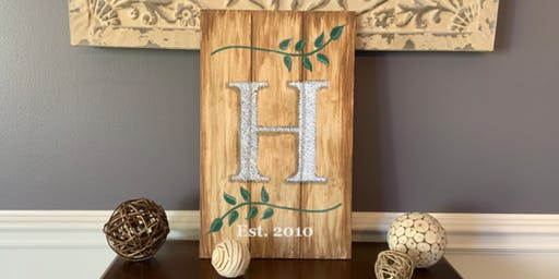 Monogram Established Sign String Art - Paint  and Sip Party Art Maker Class
