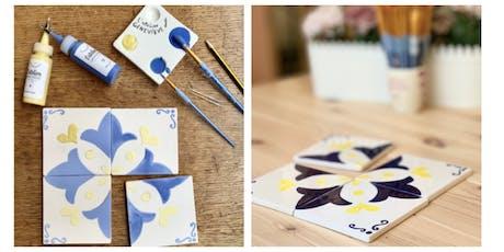 Atelier azulejos à L'Atelier Geneviève : Peinture sur céramique aux couleurs de Lisbonne billets