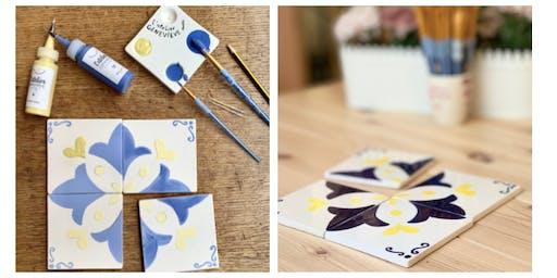 Atelier azulejos à L'Atelier Geneviève : Peinture sur céramique aux couleurs de Lisbonne