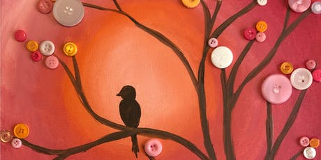 """Button Tree"" Mixed Media Painting & Vino Art Class tickets"