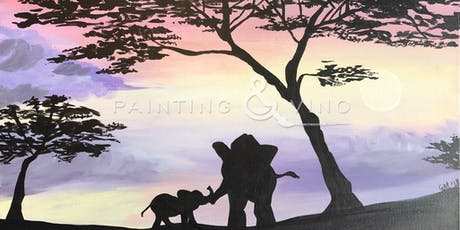 """Elephants on Safari"" Painting & Vino Event tickets"