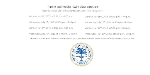 Grapeland Water Park Parent and Toddler Monday/Wednesday (5:30PM-6:00PM)