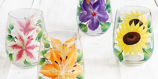 Summer Flowers Painted Wine Glasses
