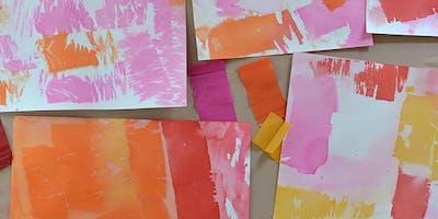 Parking Lot Art- Crepe Paper Painting