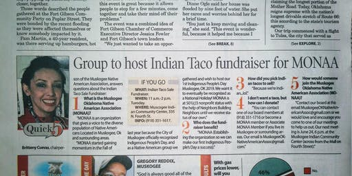 Indian Taco Sale Fundraiser New Muskogee, Ok Indigenous Group