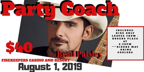 Party Coach to Brad Paisley Concert tickets
