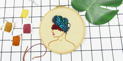 Black Girl Stitch Up -  Create an Afro Inspired 3D embroidery Hoop