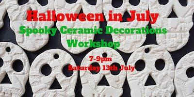 "\""Halloween in July\"" Spooky ceramic decorations workshop"