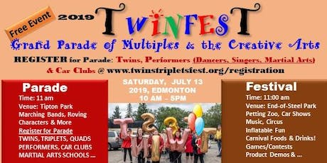 2019 Twinfest Edmonton,  Parade & Festival, July 13, End of Steel Park, Edm tickets