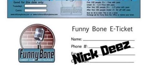 Free tickets to VB Funny Bone September 3rd tickets