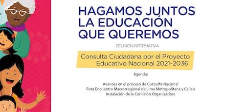 Reunión Avances Consulta Ciudadana PEN 2021-2036 tickets