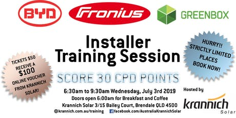 BYD, Fronius, GreenBox Training Session hosted by Krannich Solar tickets