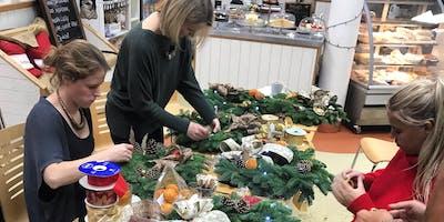 Christmas door wreath decorating