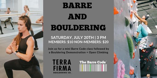 Barre & Bouldering at Terra Firma Bouldering Co.