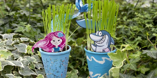 Get Your Craft On Thursday Shark and Mermaid Potted Cat Grass Arrangement