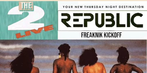 THE OFFICIAL FREAKNIK WEEKEND KICKOFF! THROWBACK THURSDAY! Come dressed in your best 90's gear, and win a prize! ATL's #1 THRUSDAY NIGHT Celebrity Event! REPUBLIC THURSDAYS! All new upscale Lounge located next to Compund Nightclub!RSVP NOW (SWIRL)