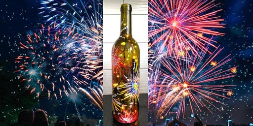 4th of July Fireworks Wine Bottle with Lights - Sip & Paint Party Art Maker Class
