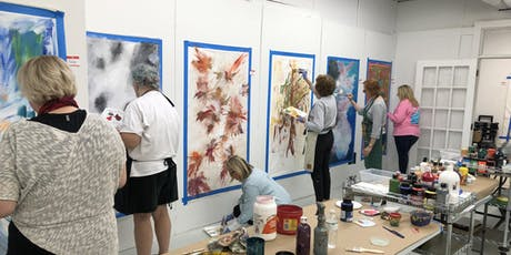 """BE FREE"" large scale free-themed abstract painting class tickets"