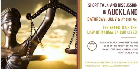 """Short talk and discussion in Auckland - """"The effects of the law of Karma on our lives"""" tickets"""