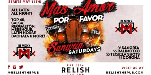 Relish Pub Sangria Saturdays – New Latin Night