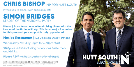 Hutt South National Party Dinner with Simon Bridges tickets
