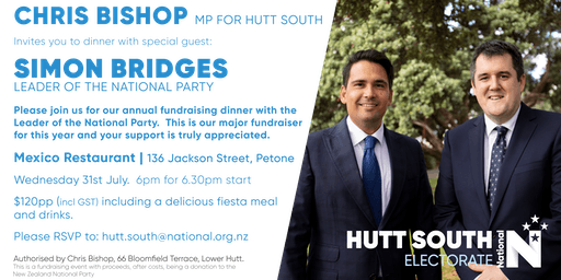 Hutt South National Party Dinner with Simon Bridges