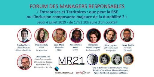 FORUM ANNUEL MR21 : « Entreprises et Territoires, que peut la RSE ou l'inclusion, composante majeure de la durabilité ? »