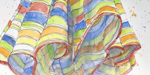 Beach & Cafe Umbrellas with Watercolor