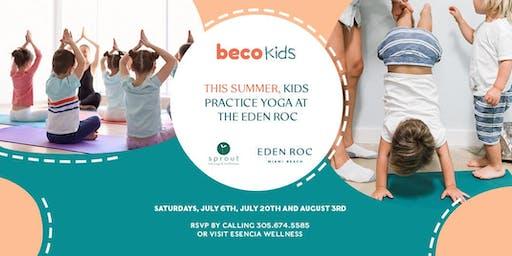 This Summer, Kids practice Yoga at Eden Roc Miami Beach