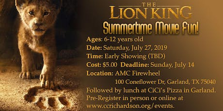 Kids Lunch & A Movie: The Lion King (AGES 6-12) tickets