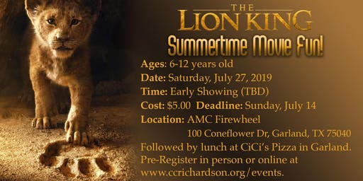 Kids Lunch & A Movie: The Lion King (AGES 6-12)
