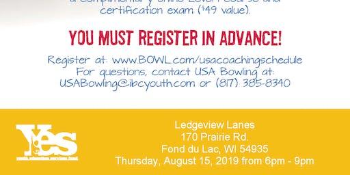FREE USA Bowling Coach Certification Seminar - Ledgeview Lanes, Fond du Lac, WI