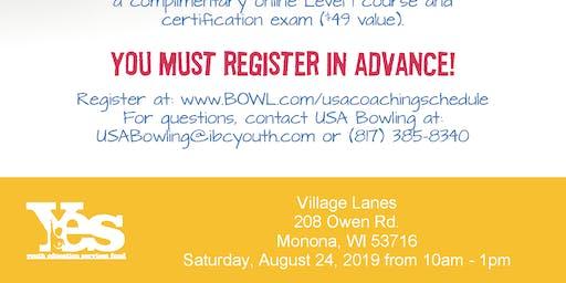 FREE USA Bowling Coach Certification Seminar - Village Lanes, Monona, WI