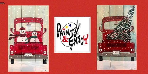 """Paint and Enjoy at New Era Restaurant """"Christmas in July"""" on wood"""