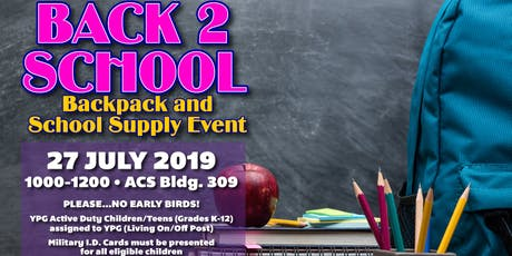 YPG Back2School Backpack & School Supply Event tickets