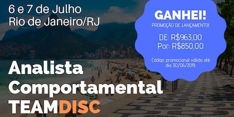 Formação Analista Comportamental TEAMDISC Profiler - Rio de Janeiro tickets