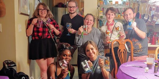 Wine or Coffee Glass Painting Class @ Red Frog Coffee 7/12 @ 2pm