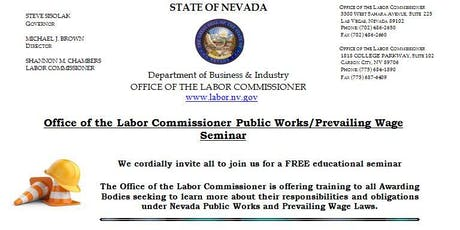 Office of the Labor Commissioner Public Works/Prevailing Wage Seminar (Carson City, NV) tickets