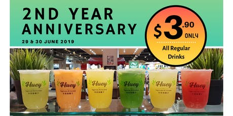 Huey's 2nd Year Anniversary! All regular drinks $3.90 only! tickets