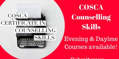 COSCA - Certificate In Counselling Skills Course August 2019